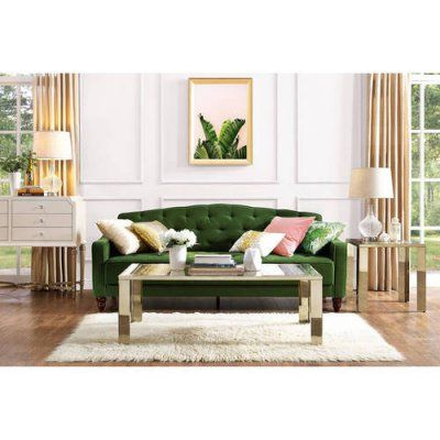 Dorel Home Novogratz Vintage Tufted Sofa Sleeper II Green Velour - 2020857N