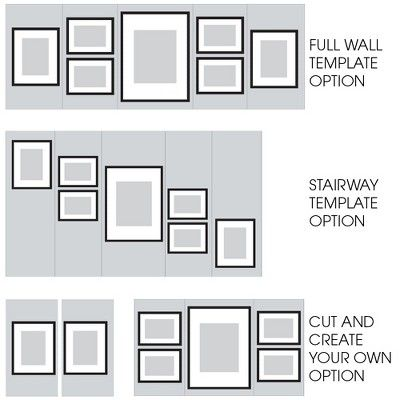 Gallery Perfect 8 X 10 5 X 7 4 X 6 7pc Photo Wall Gallery Kit With Decorative Frame Set Gray Gallery Wall Frames Gallery Wall Template Frames On Wall