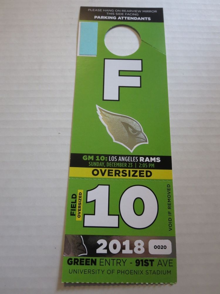 the latest 247fc 723b2 Arizona Cardinals- Los Angeles Rams NFL RV Camper Oversize Parking Pass  12 23 18  nfl  espn  tickets