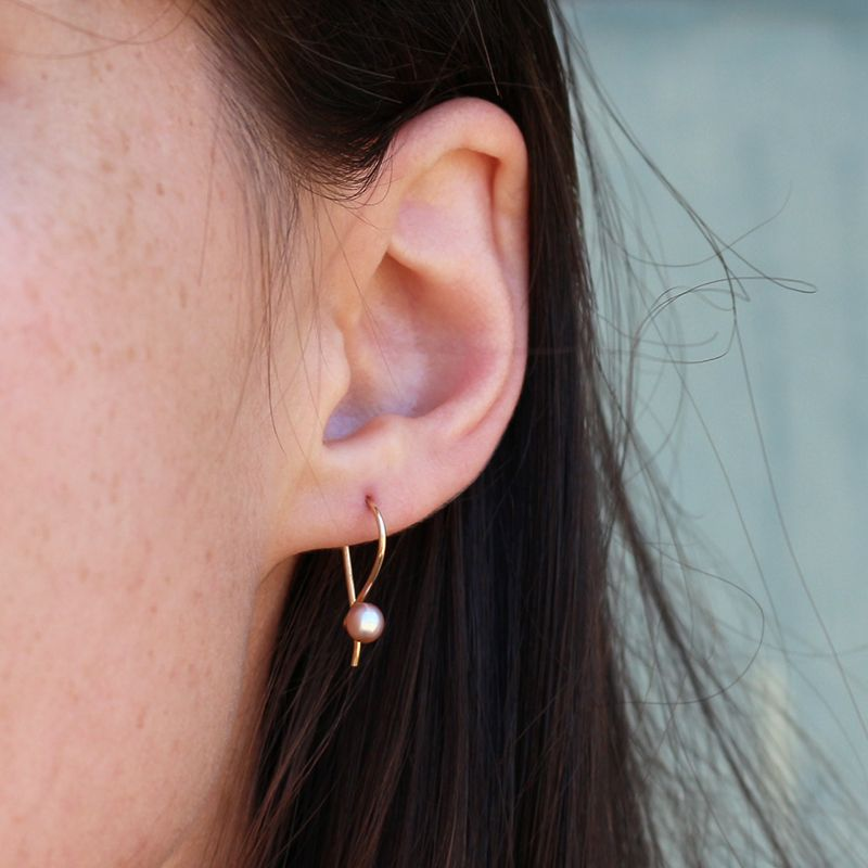 triptych pink pearl earring