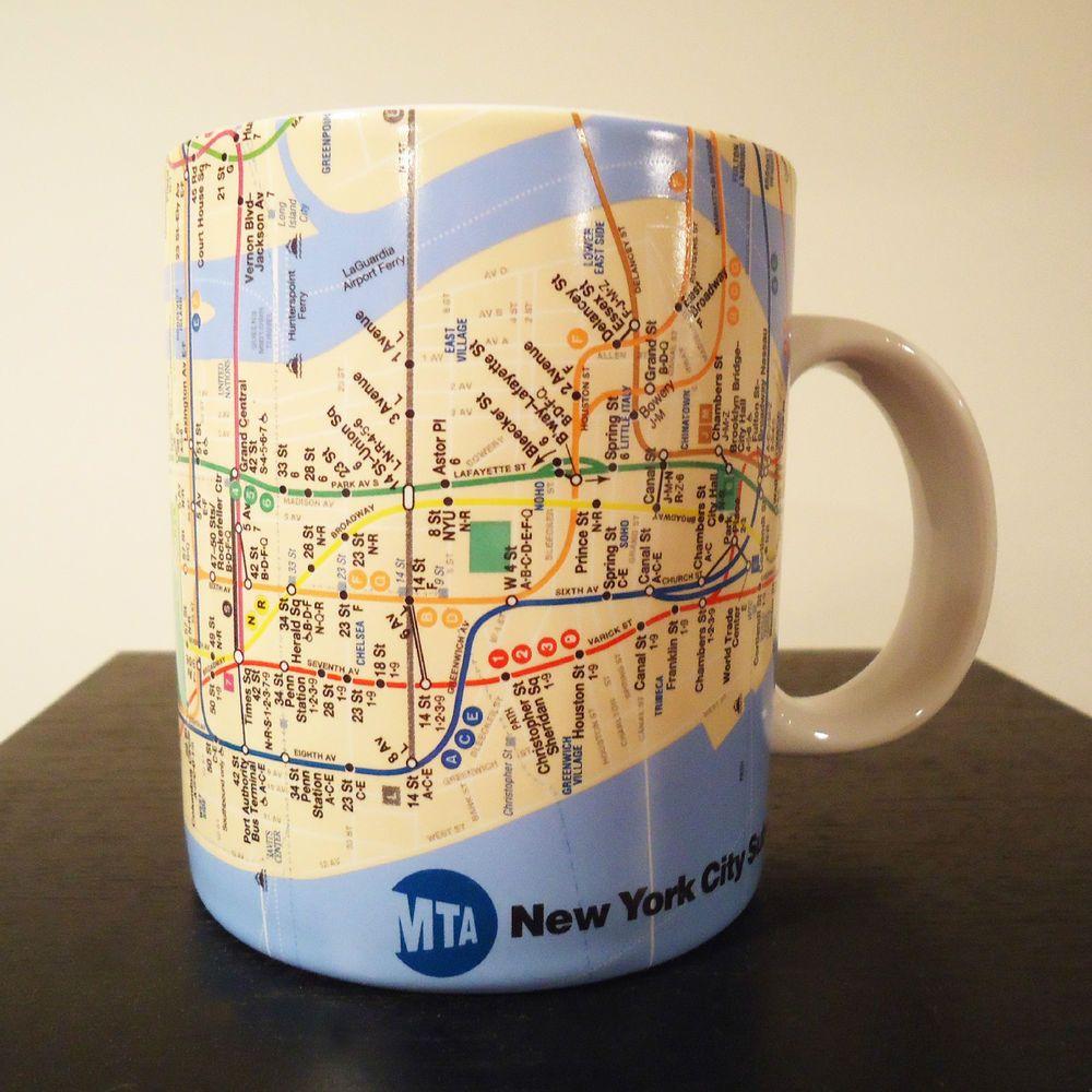 New York City Subway Map Large.New York City Subway Map Mug Coffee Cup Large Oversized 18 Oz