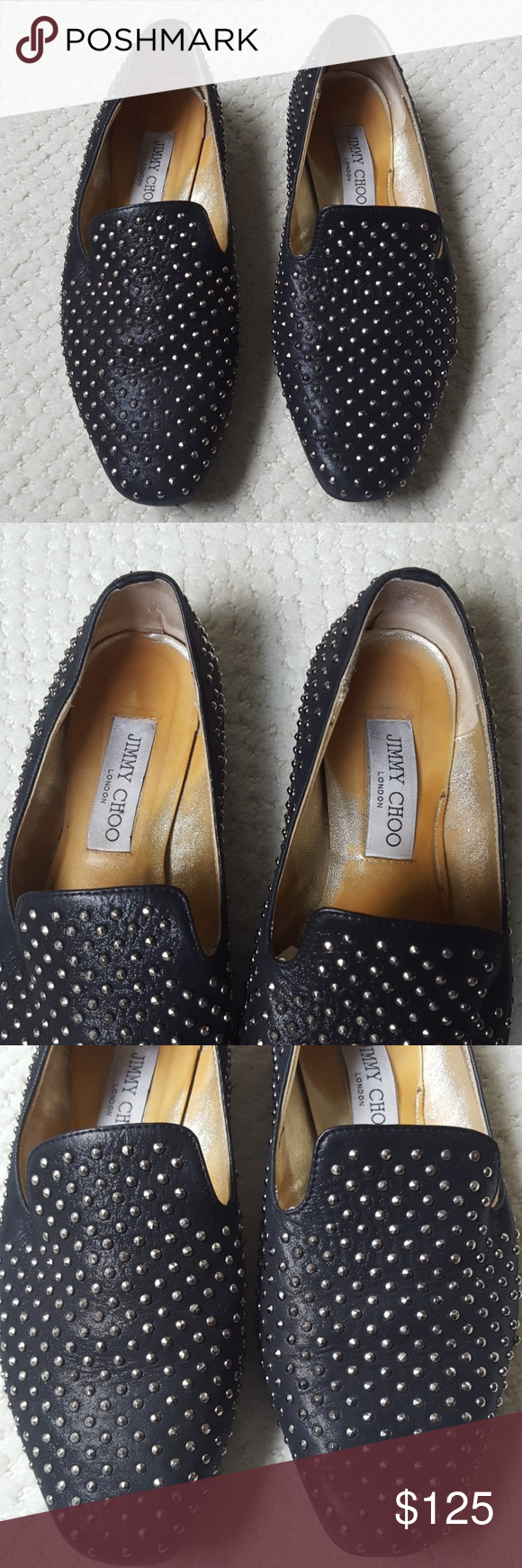 0914d7fb2ec7 Jimmy Choo silver studded 7.5 leather flats loafer