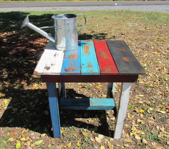 Rustic End Table, Multi Colored Wood Table, Distressed Table, Beach Cottage,