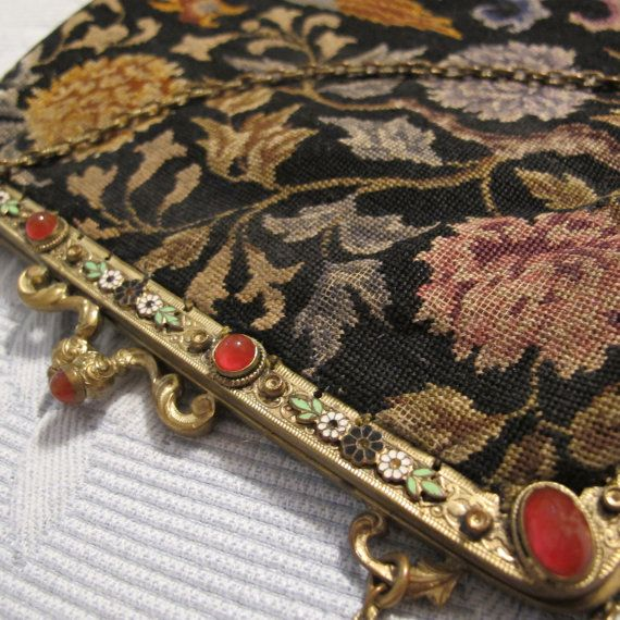 Antique Austrian Petit Point Tapestry Handbag Purse Pocketbook Enamel Flowers Carnelian Art Glass Jewel Metal Frame Chinoiserie Asian Style