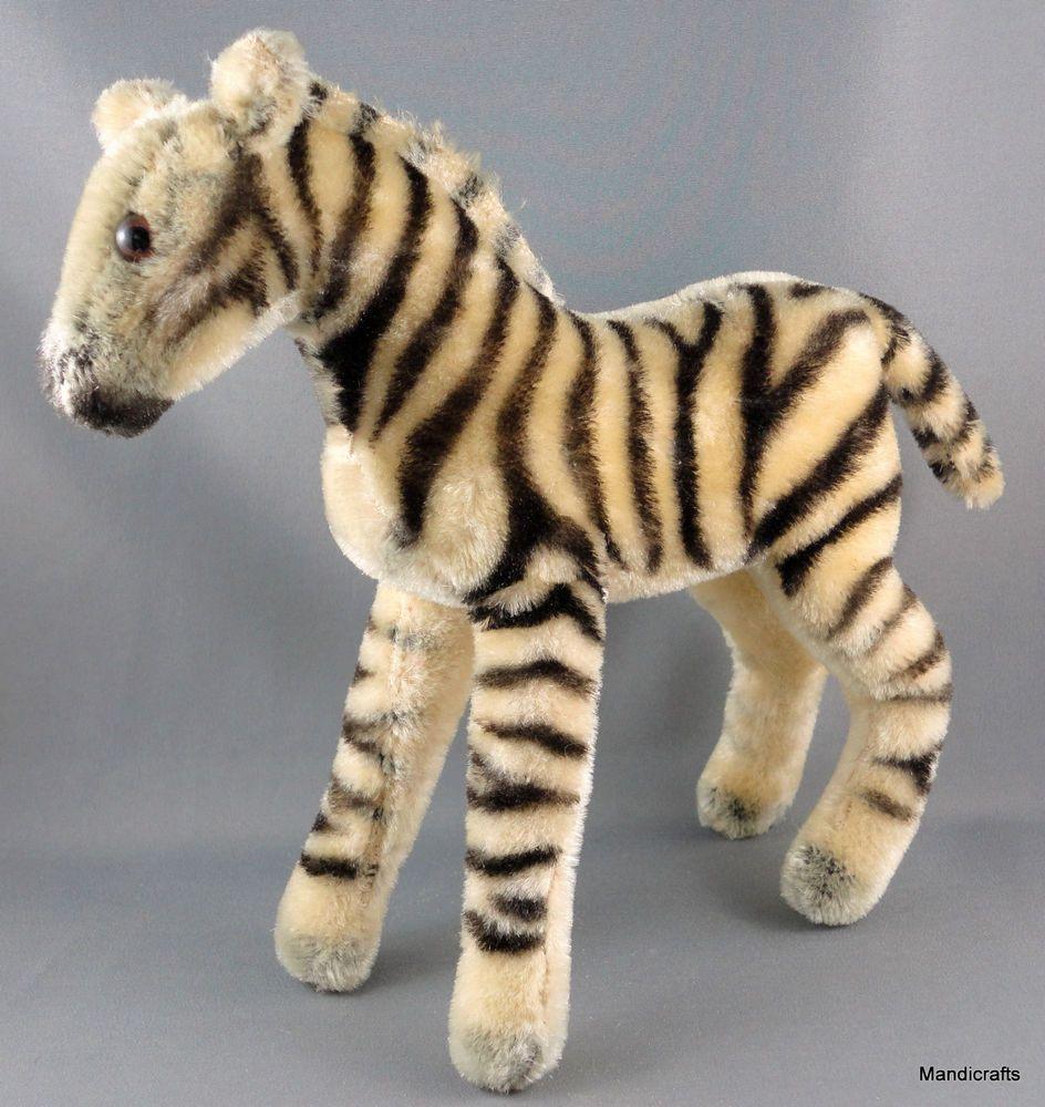 Steiff Zebra Mohair Plush 22 cm Standing no ID 1960s Glass Eyes ...