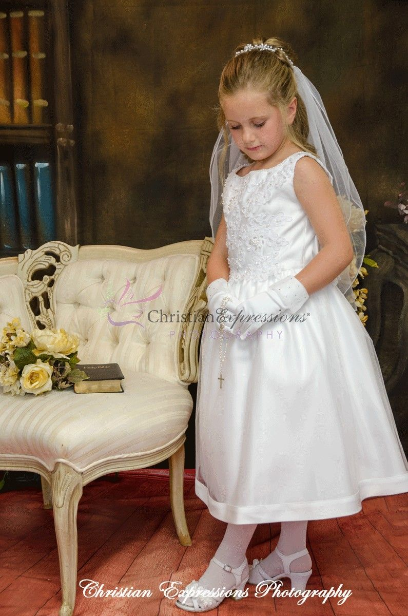 20b76498805 Beautiful sleeveless Satin bodice with beaded applique first communion dress.  Tulle skirt with satin trim