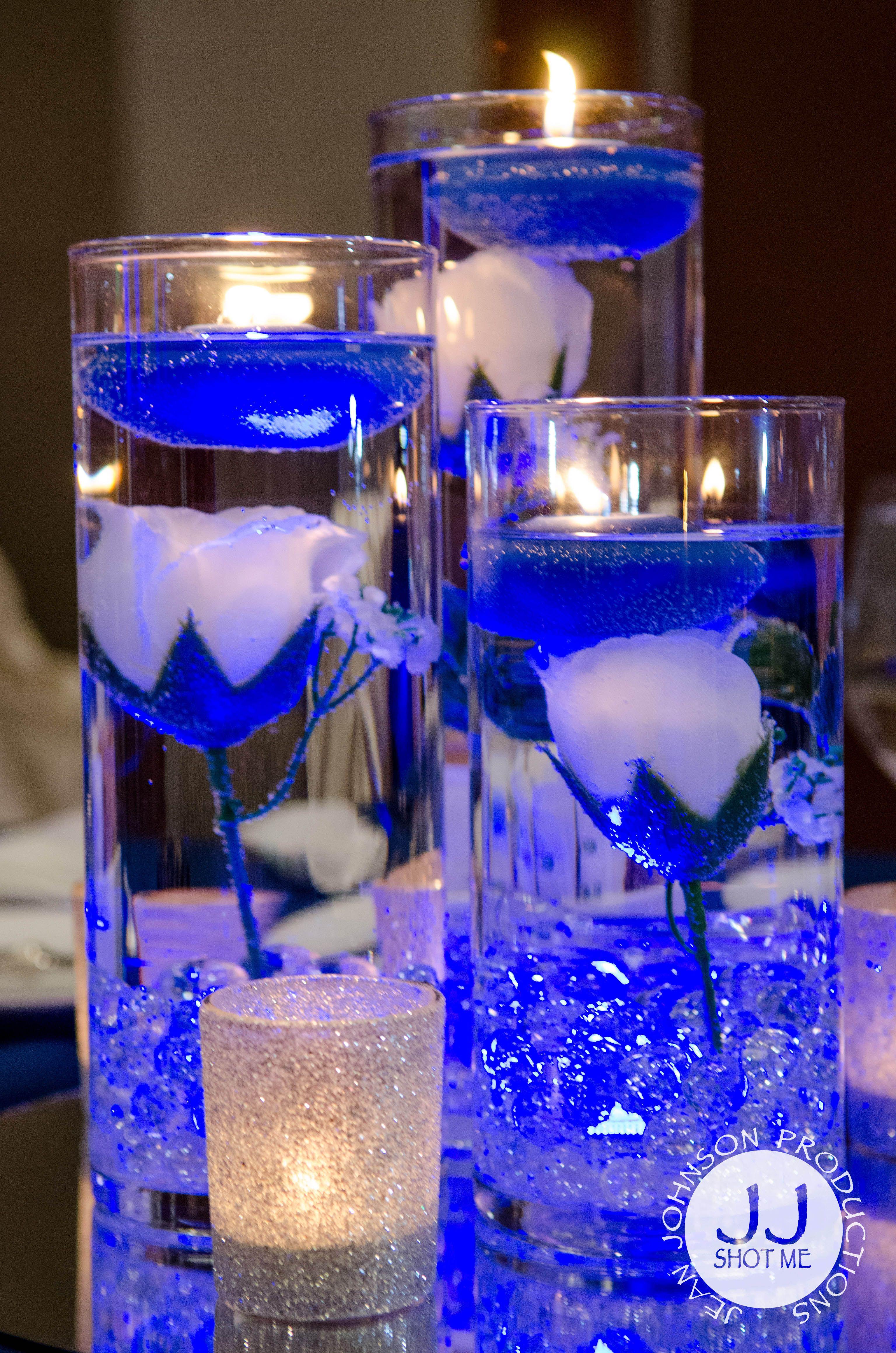 floating candle table center piece blue white wedding colors rh pinterest com