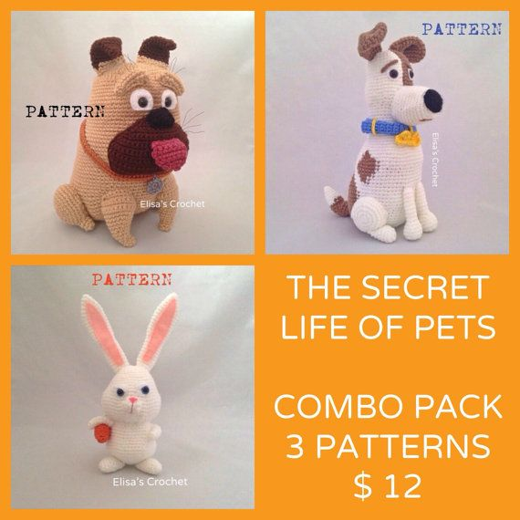 The Secret Life Of Pets Crochet Patterns Combo Pack Max Snowball