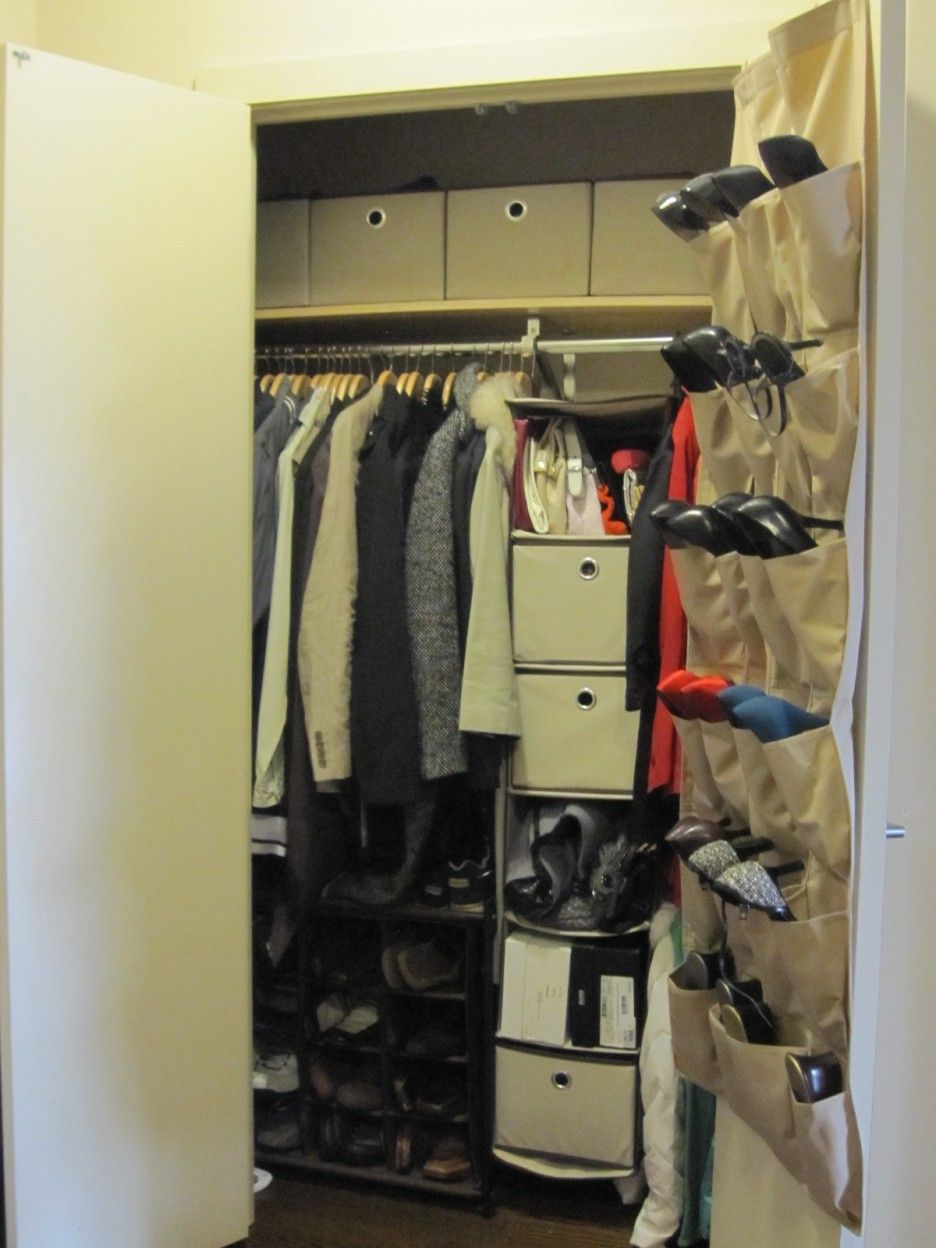 Small bedroom closet storage ideas - Simple Wall Mounted Hanging Shoe Storage In Closet Ideas For Small Bedrooms White Closet Door With