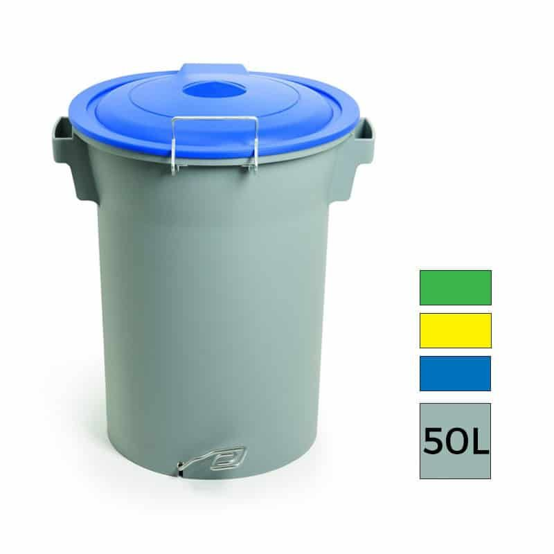 Bilbao Corbeille Tri Selectif A Pedale Couvercle Basculant 50l Recycling Compost Design