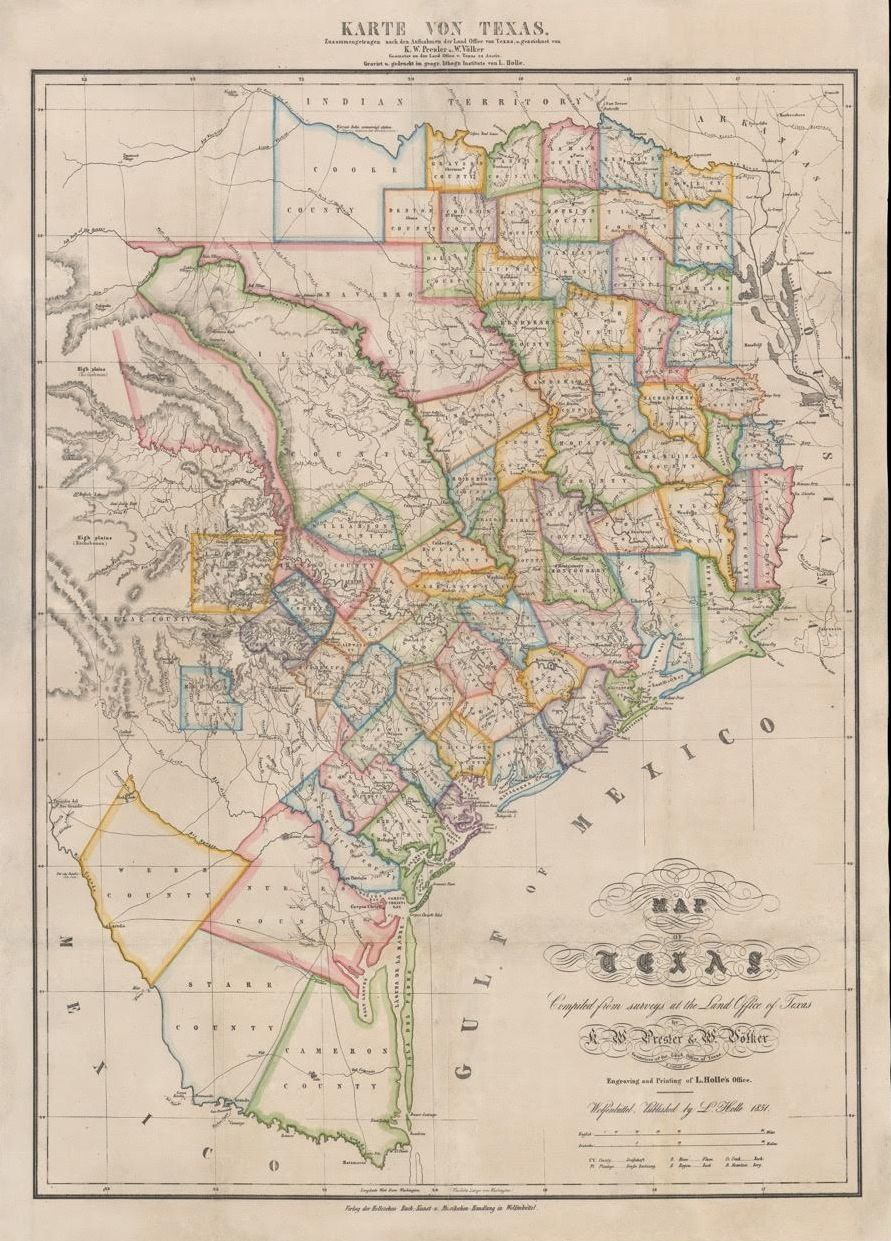 Presler 1851 Karte Von Texas With Images Texas Map Map