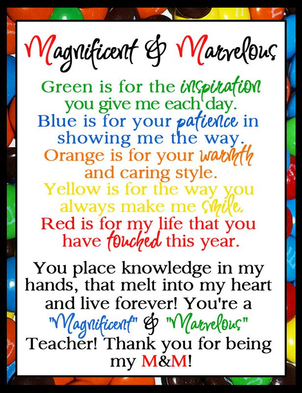teacher appreciation m & m - Google Search   Teacher ...