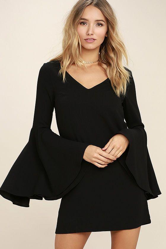 46+ Black bell sleeve dress ideas in 2021