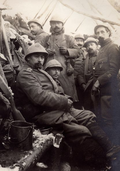 WWI, Jan 1916. French soldiers in a trench , Alsace. -Getty