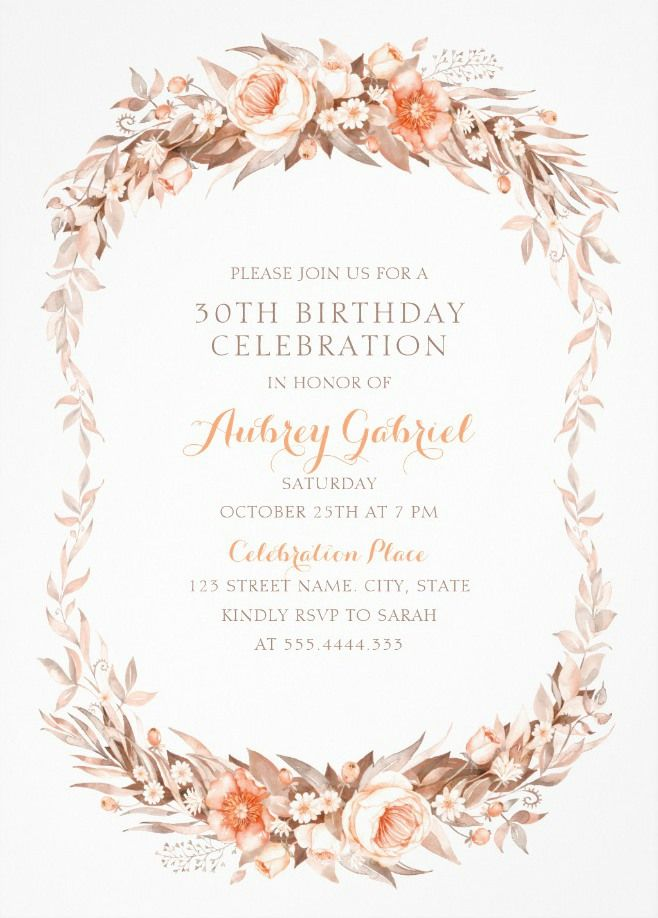 Online Birthday Invitations Templates New Floral Adult 30Th Birthday Invitations  Elegant Fall Flowers .