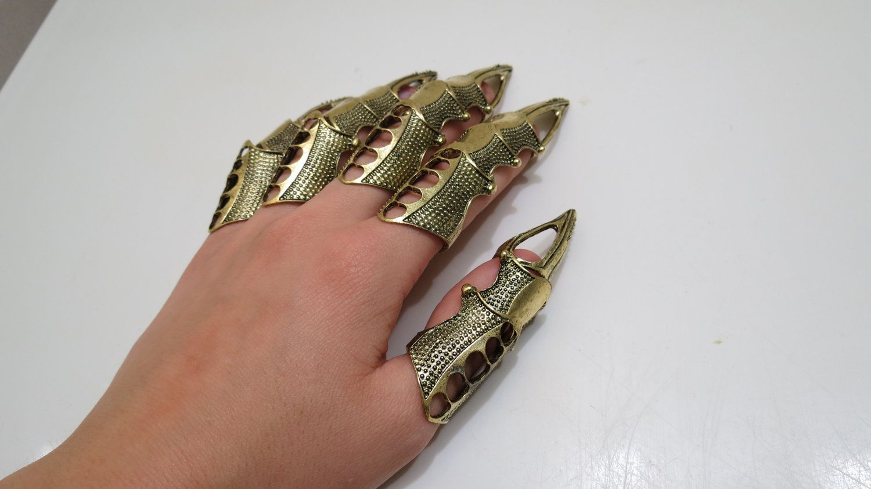 Womens Greek Goddess Gold Coin Finger Glove