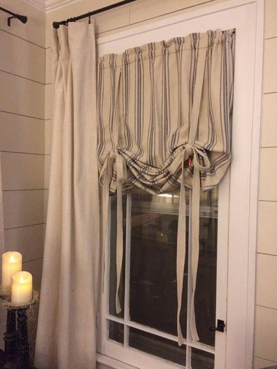 grain sack roman shade farmhouse curtain country curtain tie up roman shade grain sack on farmhouse kitchen curtains id=77270