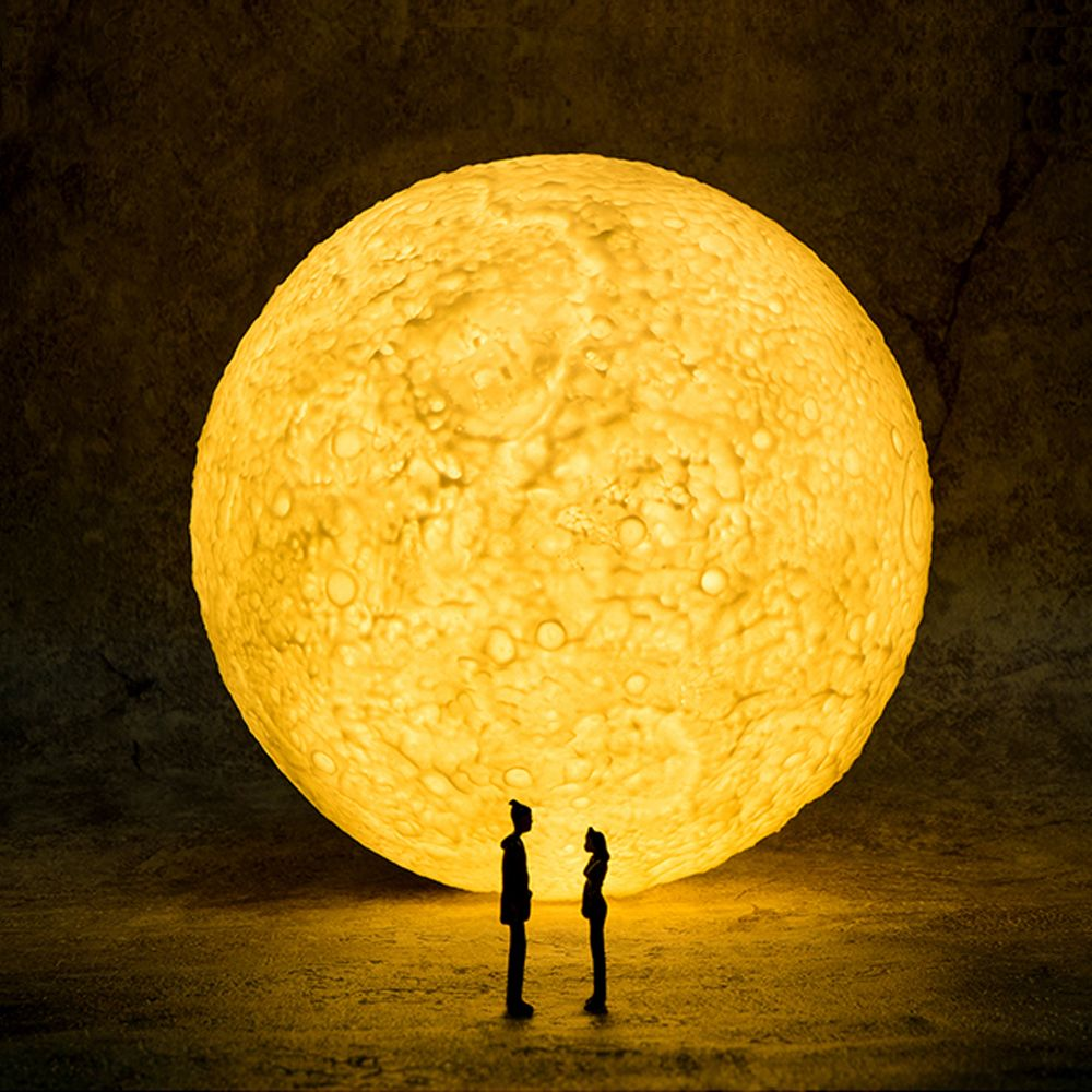 3d Lunar Moon Lamp Surface Kid Gift New Home Ornament 4 Lamp Glow Party Supplies Night Light