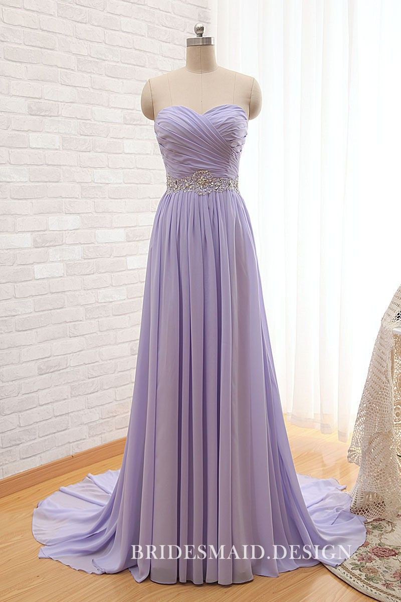 92682ab53fffa Strapless sweetheart criss-cross pleated bodice, lavender chiffon floor  length A-line elegant bridesmaid dress. Free crystal beaded belt.