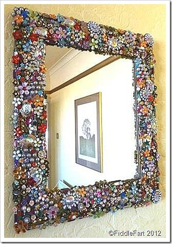 A Fantastic Jewelled Mirror Frame Made Using Upcycled Jewellery