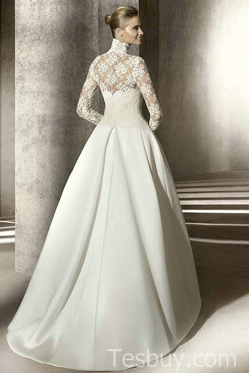Full Lined Long Sleeves Modest Bridal Dress With Lace Top And Satin Skirt