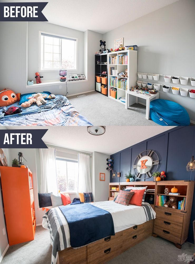 A Modern Navy & Orange Nautical Kids' Room Makeover | The DIY Mommy