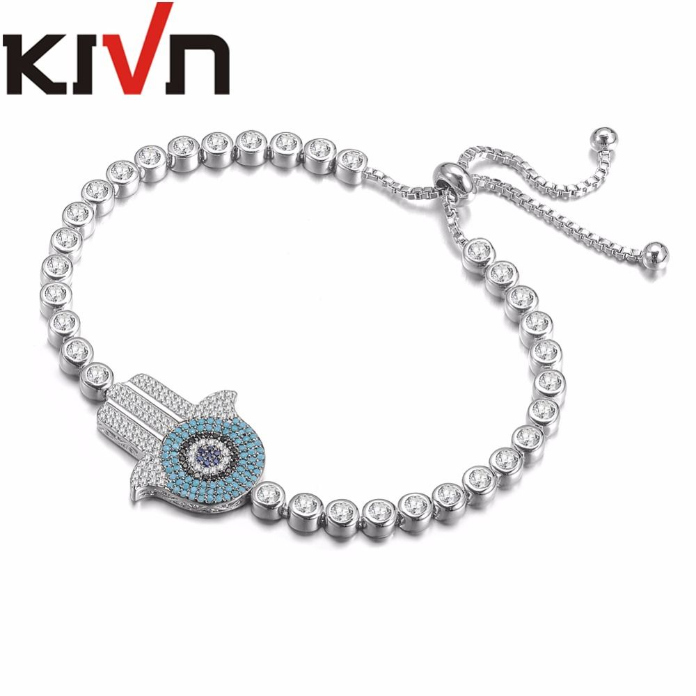 Kivn fashion jewelry adjustable hamsa hand blue eye cz cubic
