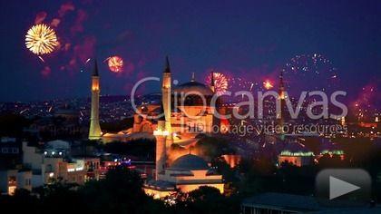 Hagia Sophia, Istanbul New Year Eve. Amazing fireworks all around the city. HD Stock Footage Clip. Medium shot. 2014-11-28, TURKEY.