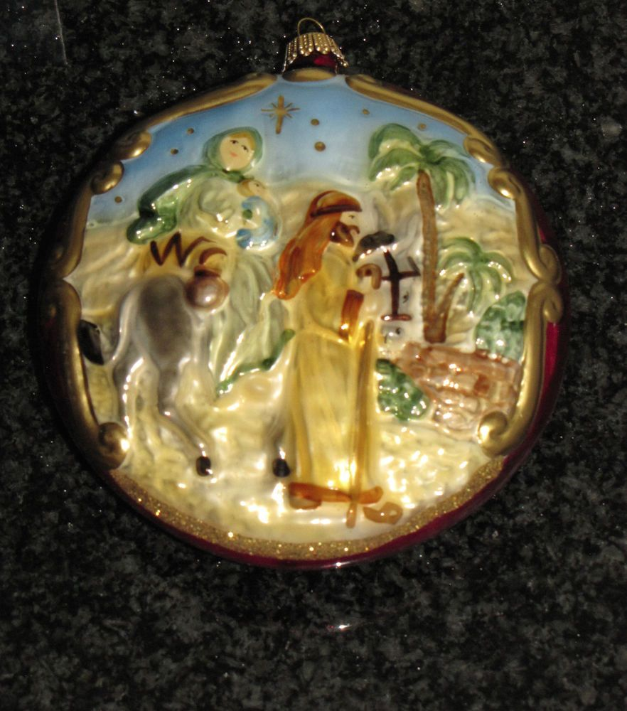 Nativity At Night Glass Ball Religious Christmas Ornament: Christmas Tree Ornament 3 BETHLEHEM NATIVITY Vtg KREBS