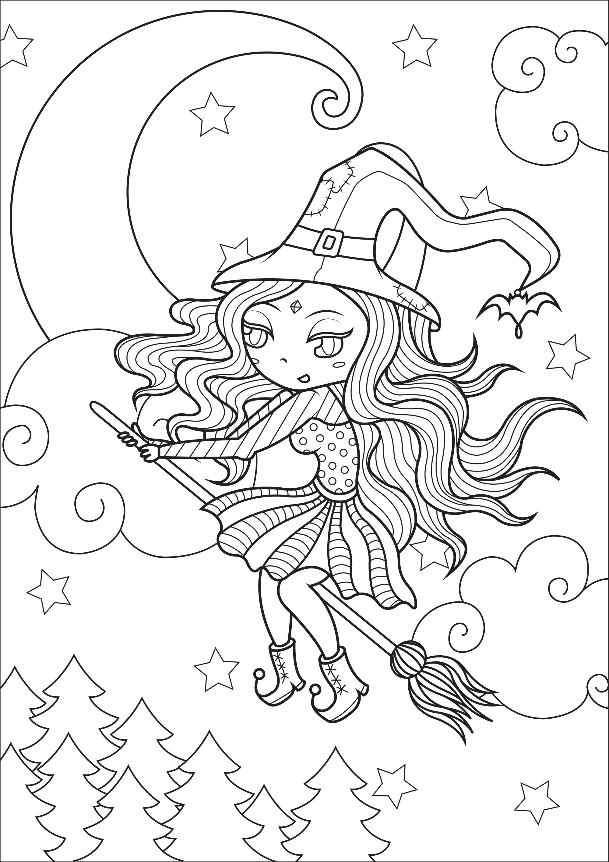 Simple Happy Witch Witch In Flight With Beautiful Moon And Starry Sky In Background From T Witch Coloring Pages Halloween Coloring Pages Halloween Coloring