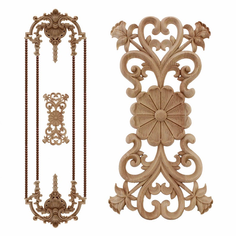 Antique Decorative Wood Appliques, Wooden Appliques For Furniture