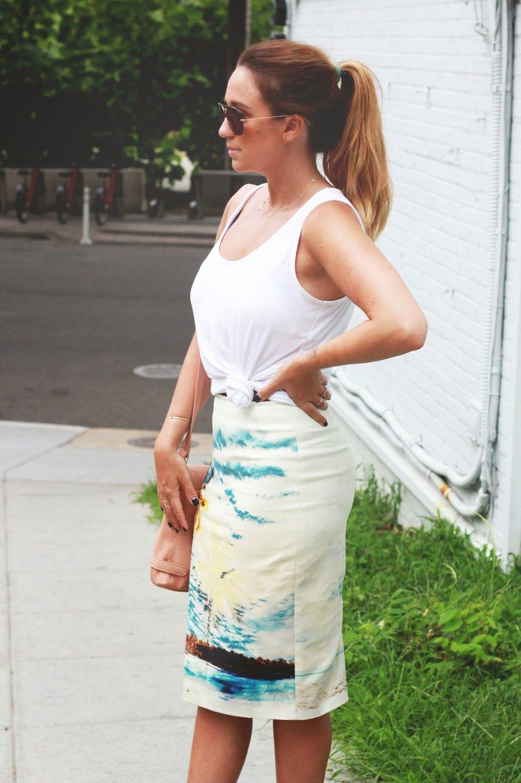 summer pencil skirt outfit   TheFashionablyBroke.com