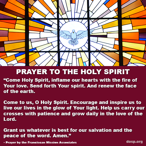 Come #HolySpirit, inflame our hearts with the fire of Your love. #Pentecost