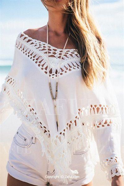 Crochet Flower Openwork Asymmetric White Blouse WHITE: Blouses   ZAFUL