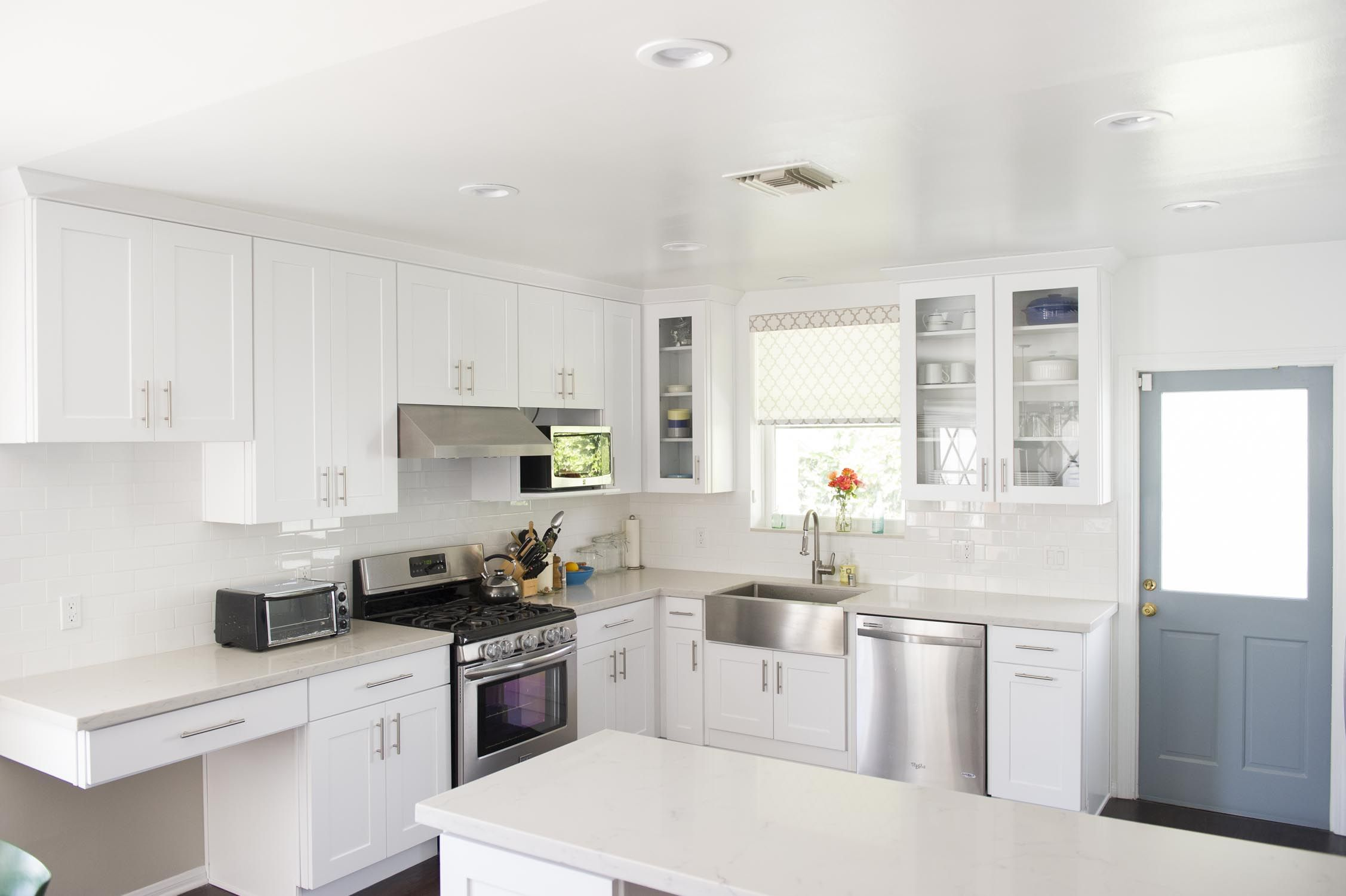 California Kitchen remodel. White and stainless steel. Farmhouse ...