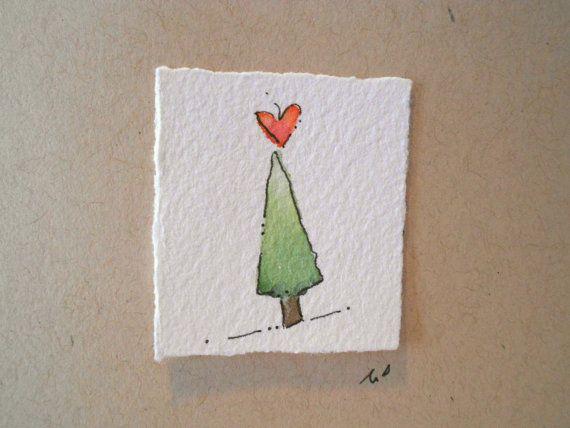 christmas cards watercolor tree love two original art. Black Bedroom Furniture Sets. Home Design Ideas