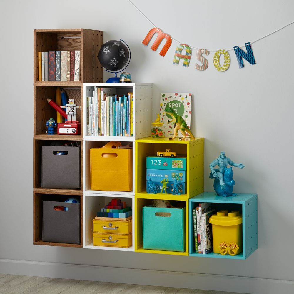 Small Cubby Cube Wall Shelf Wood Veneer