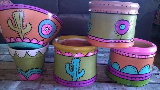 Macetas de barro pintadas a mano, diferentes medidas. | jardin ...