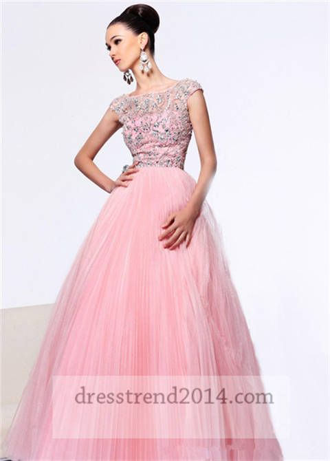 Home :: Long Dresses :: Pink Beaded High Neck Ball Gown Prom Dresses ...