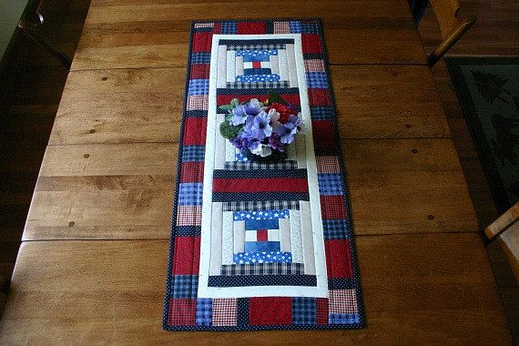 Americana Log Cabin table runner Patchwork by BlueberryHillQuilts, $48.00