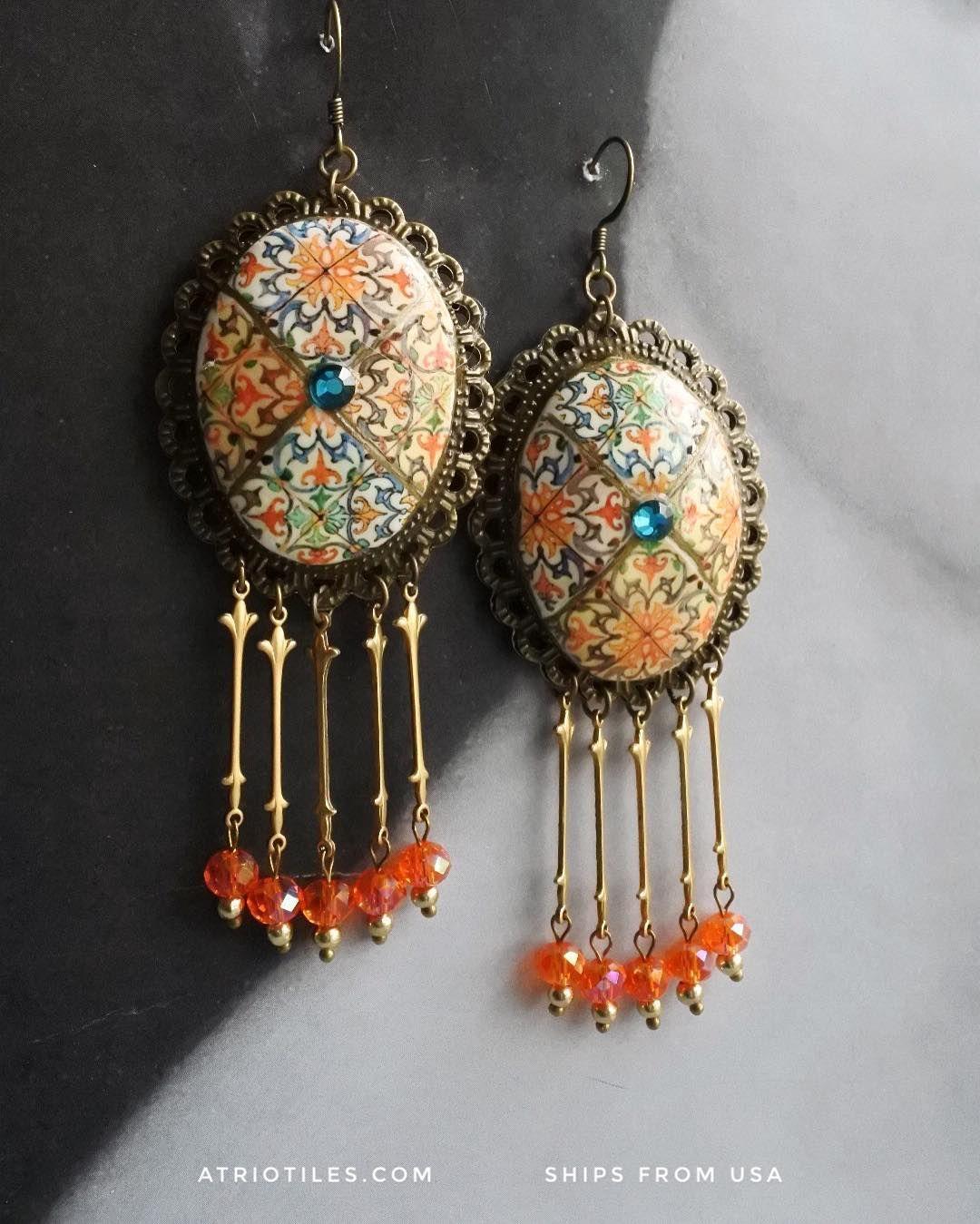 Chandelier earrings with Sicily ceramic tiles