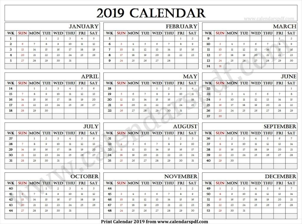 2019 Calendar With Weeks Printable Yearly Calendar Calendar
