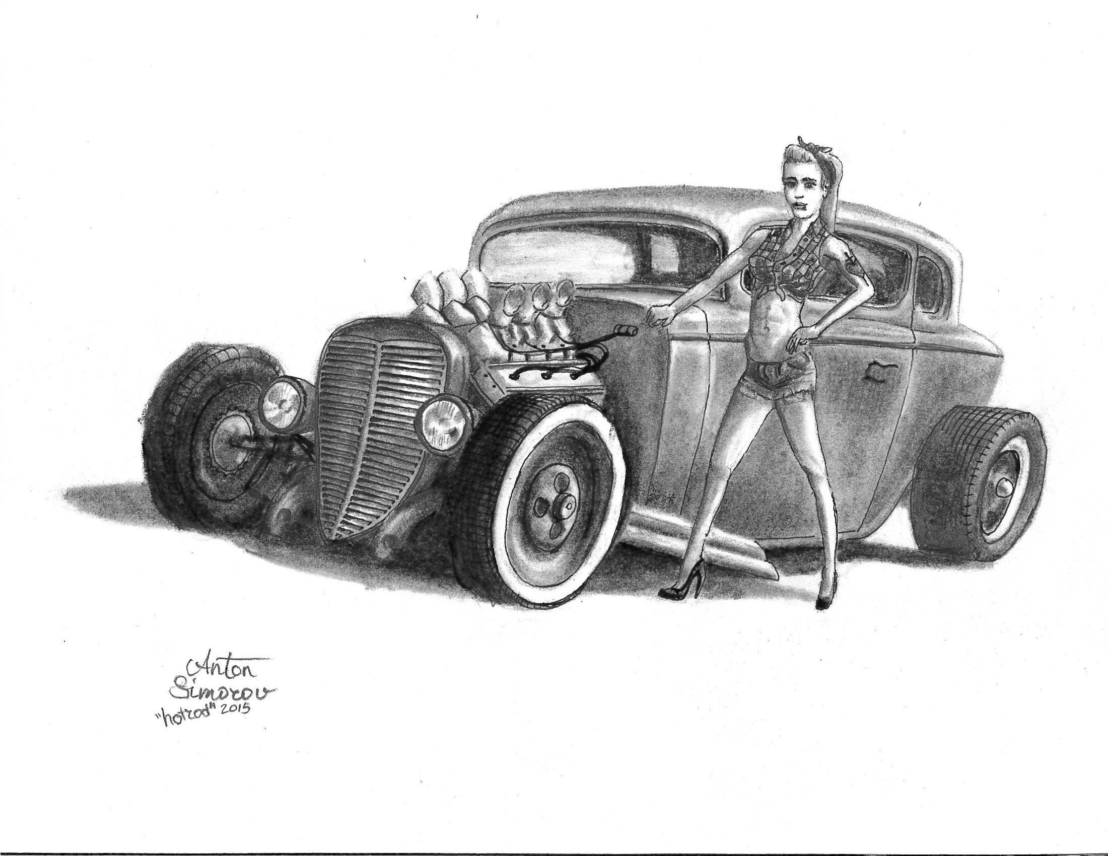 Hotrod Drawing Pencil Sketch Pen Pencil And Some Cartoon