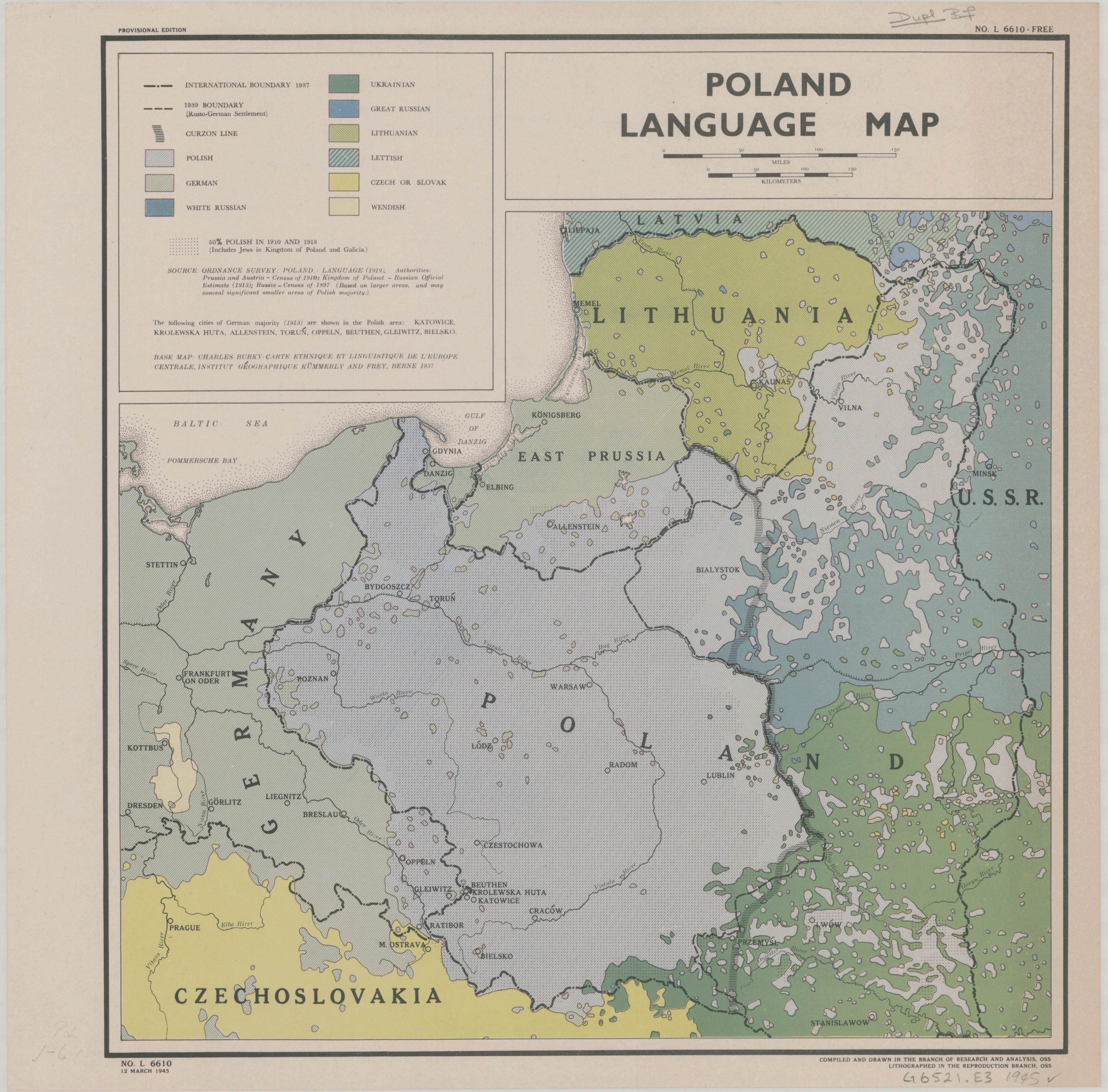 Poland language map 1945 maps pinterest poland language map 1945 sciox Images