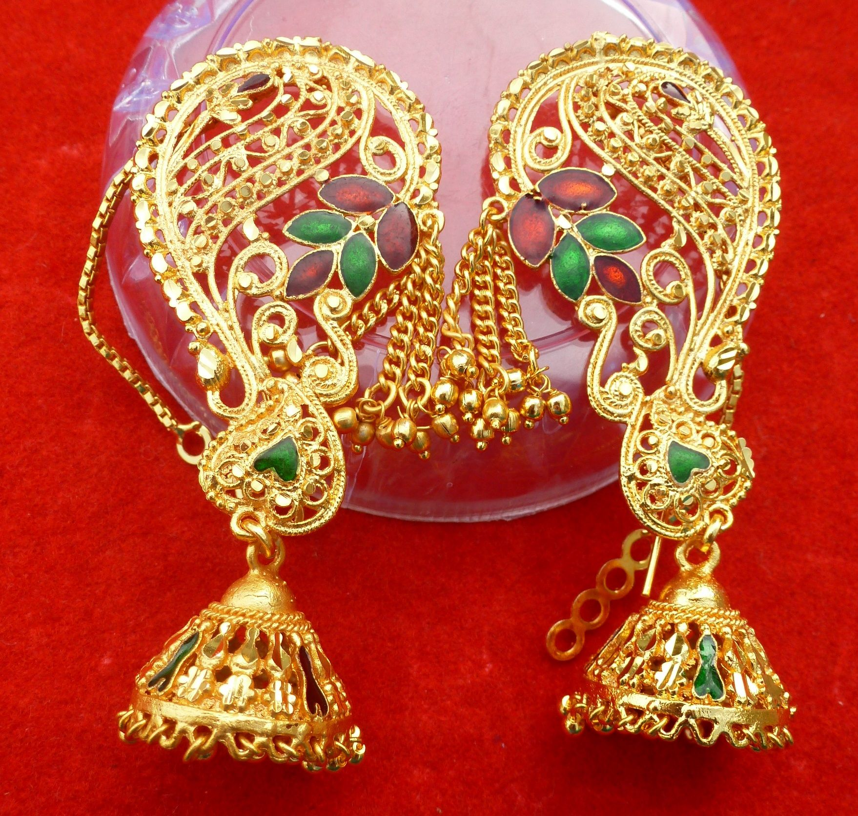 Indian 22k Gold Plated Wedding Necklace Earrings Jewelry: 22K Gold Plated Indian Full Ear Earrings Jhumka Variation