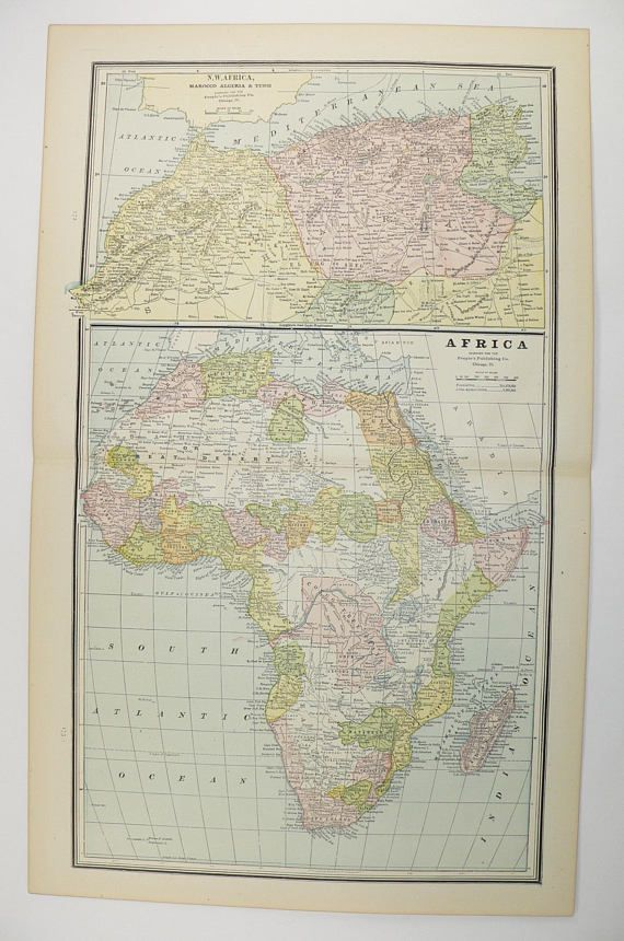Vintage Africa Map Oceania 1888 Antique Map Of Africa Polynesia Map