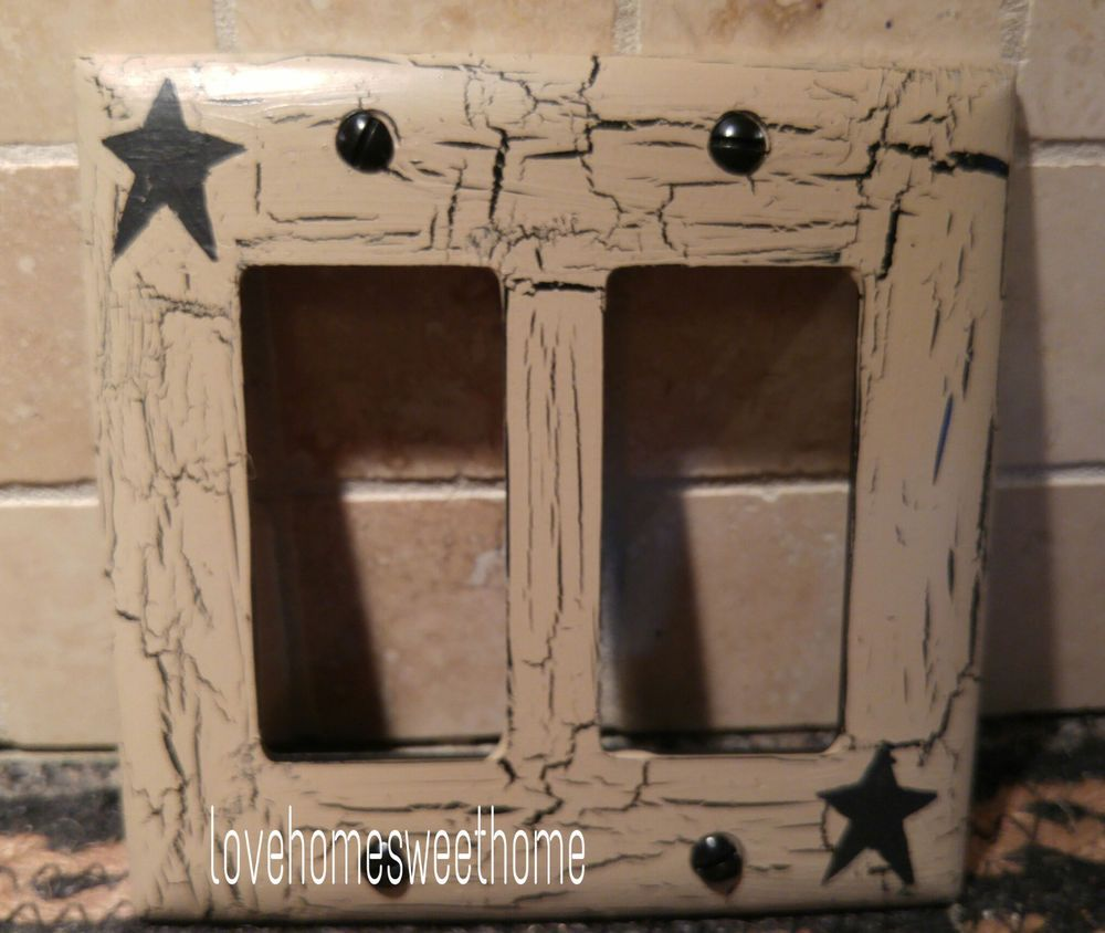 Primitive Crackle Tan /& Burgundy Star Outlet Plate ~ Country Decor
