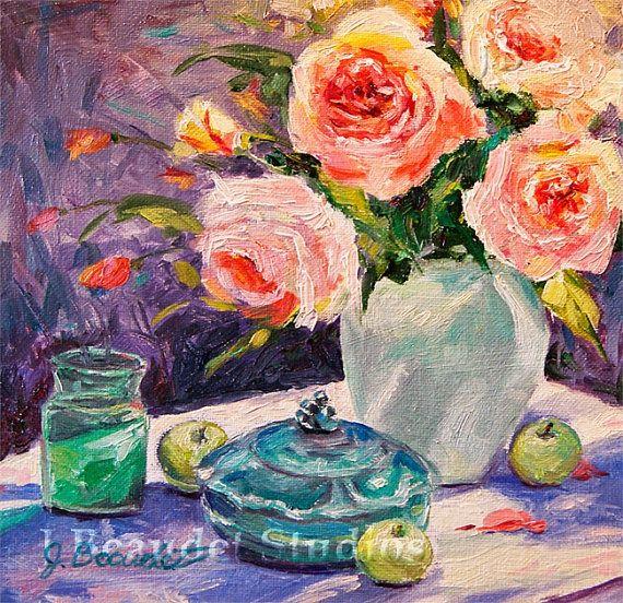 shabby chic rose paintings | Original oil painting Roses floral painting shabby chic decor ...