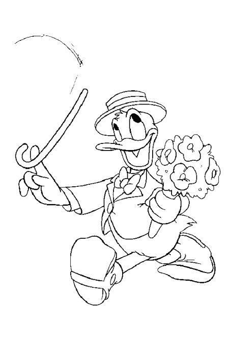 صورة بطوط يحمل العكازة ويلف بها من الصور المتحركة للتلوين Mickey Coloring Pages Cartoon Coloring Pages Disney Coloring Pages