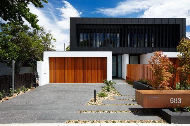 Perfect Modernes Holz Garagentor Schwarze Etage Fassade Landschaftsbau